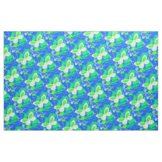 Green, White, Blue Butterfly Pattern Fabric