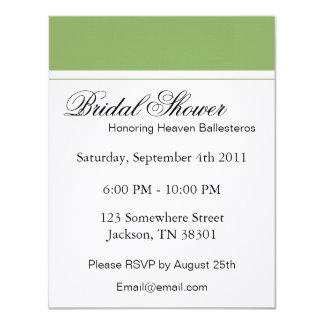 Green & White Bridal Shower Invitations