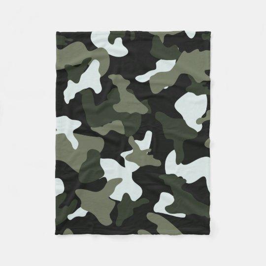 Green White camo camouflage army pattern Fleece Blanket