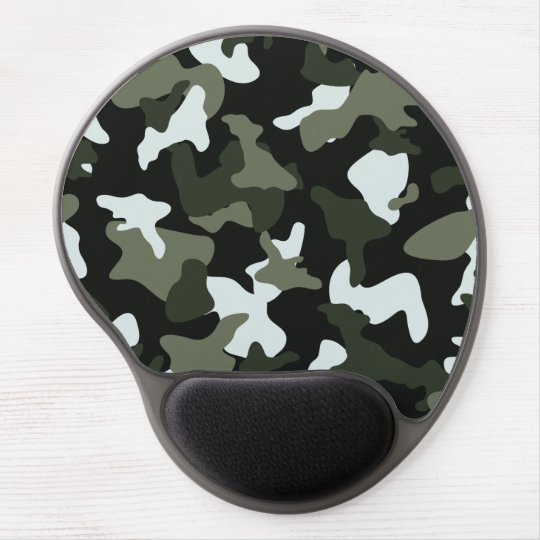 Green White camo camouflage army pattern Gel Mouse Pad
