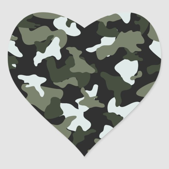 Green White camo camouflage army pattern Heart Sticker