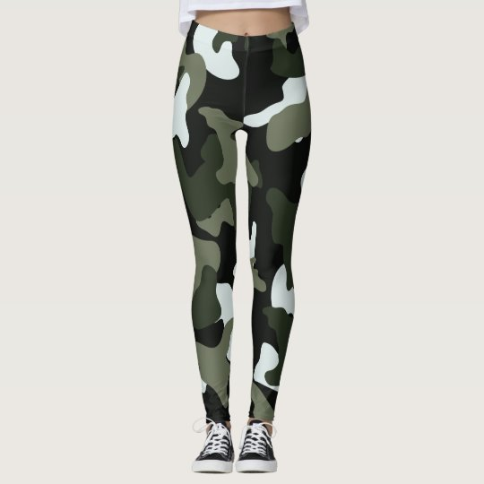 Green White camo camouflage army pattern Leggings