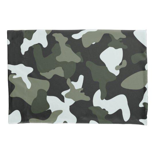 Green White camo camouflage army pattern Pillowcase