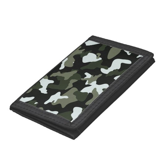 Green White camo camouflage army pattern Tri-fold Wallets