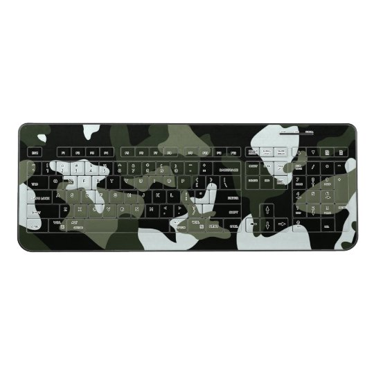 Green White camo camouflage army pattern Wireless Keyboard