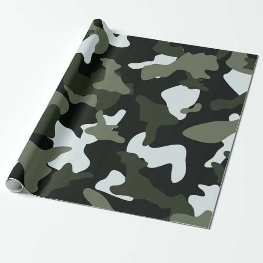 Green White camo camouflage army pattern Wrapping Paper