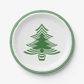 Green/White Christmas Tree Font Geometric Pattern Paper Plate