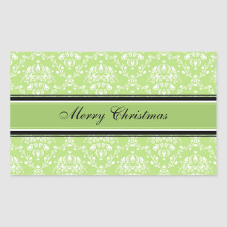 Green White Damask Merry Christmas Stickers