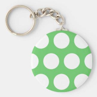 Green & White Dots Key Ring