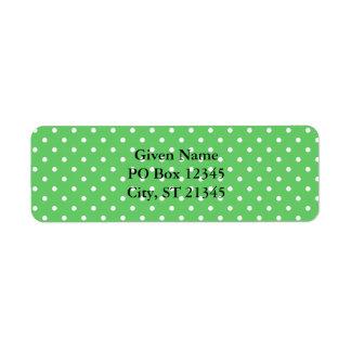 Green & White Dots Return Address Label