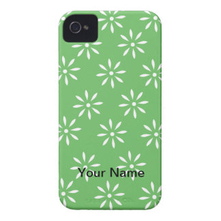 Green White Floral Customizeable Pattern iPhone 4 Case-Mate Case