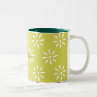 Green White Floral Customizeable Pattern Two-Tone Mug