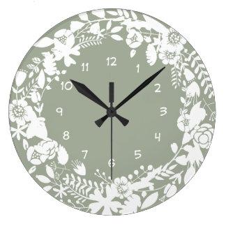 Green White Floral Kitchen Clock