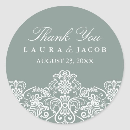 Green & White Floral Lace Wedding Stickers