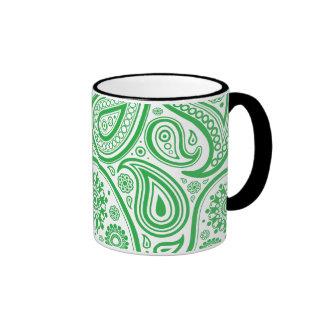 Green White Floral Pattern Coffee Mugs