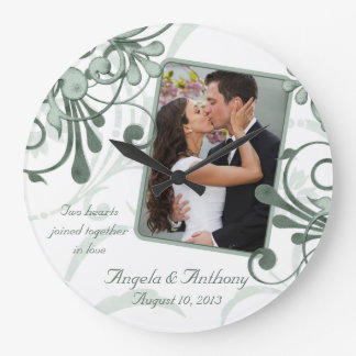 Green White Floral Personalized Photo Template Large Clock