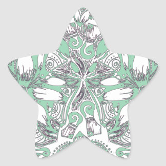Green White Floral Star Sticker