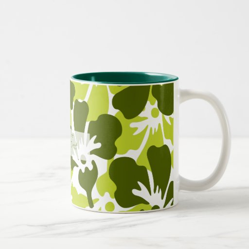 Green & White Floral Tropical Pattern Coffee Mugs