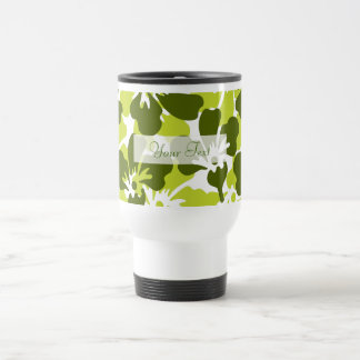 Green & White Floral Tropical Pattern Stainless Steel Travel Mug