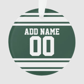 Green White Football Jersey Custom Name Number Ornament