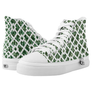 Green White Geometric Pattern Top Shoes