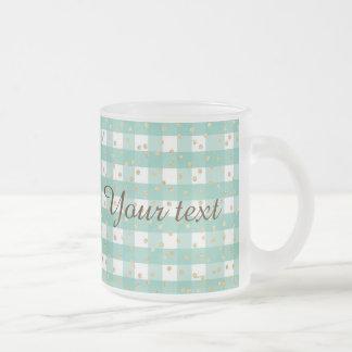 green,white,gingham,gold,polka dot,trendy,girly,ch frosted glass mug