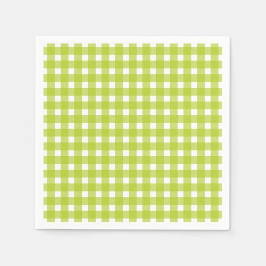 Green & White Gingham Plaid Checks Wedding Party Paper Napkins