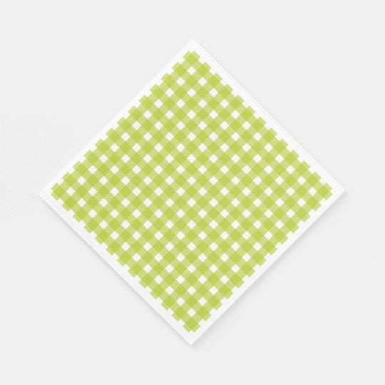 Green & White Gingham Plaid Checks Wedding Party Paper Serviettes