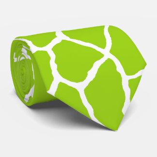 Green White Giraffe Skin Pattern Tie