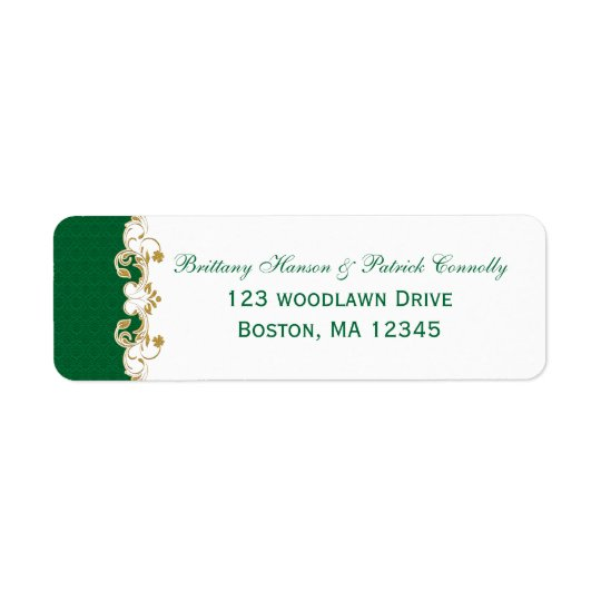Green White Gold Scrolls Return Address Label