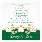 Green White Gold Scrolls, Shamrocks Bridal Shower Card
