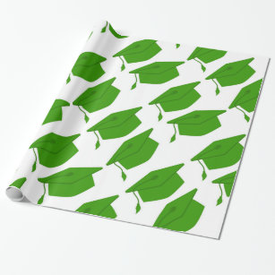 GREEN & WHITE GRADUATION WRAPPING PAPER