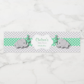 Green, White Gray Elephant Baby Shower Water Bottle Label