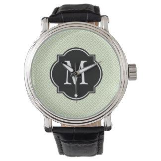 Green & White Greek Key Pattern Watch