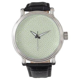 Green & White Greek Key Watch