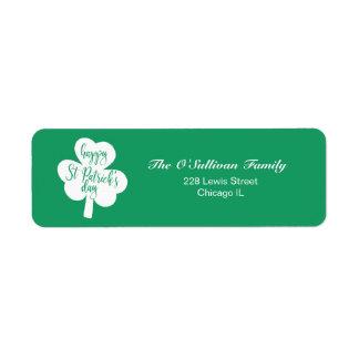 Green & White Happy St. Patrick's Day Shamrock Return Address Label