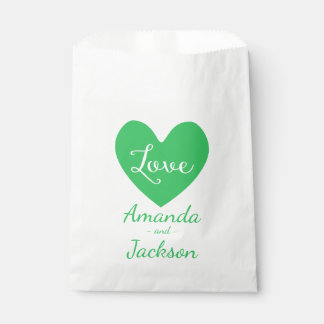 Green & White Heart Love Wedding, Bridal Shower Favour Bag