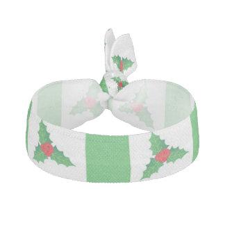 Green White Holly Berries Elastic Hair Tie Ribbon Hair Tie