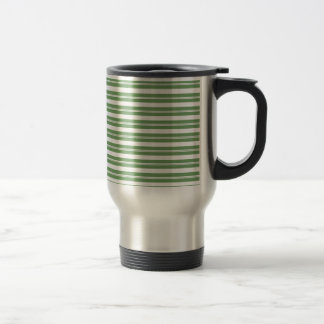 Green White Horizontal Stripes Stainless Steel Travel Mug