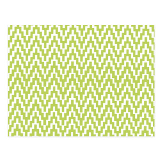 Green White Ikat Chevron Zig Zag Stripes Pattern Postcard