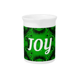 Green White 'Joy'  Modern Holiday Pattern Pitcher