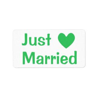 Green & White Just Married Heart Love  - Wedding Address Label