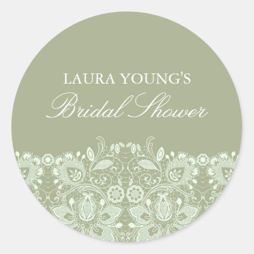 Green & White Lace | Bridal Shower Sticker
