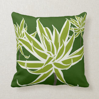 Green White Leaves Decor#13b Modern Throw Pillow