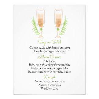 Green & White Menu Watercolor Champagne Glasses 11.5 Cm X 14 Cm Flyer