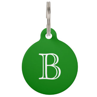 Green White Monogram Initial Name Simple Pet ID Tags