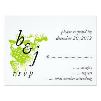 Green White Monogram Winter Wedding RSVP Card 11 Cm X 14 Cm Invitation Card