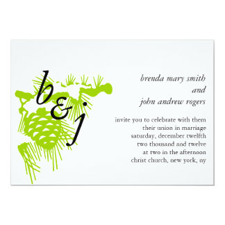 Green White Monogrammed Winter Wedding Invitation