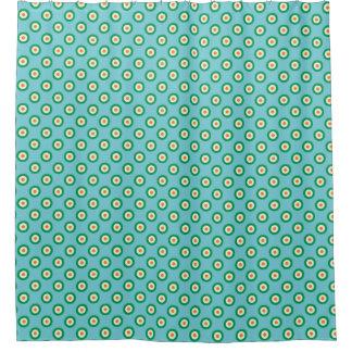 Green White Orange Polka Dots on Light Blue Shower Curtain