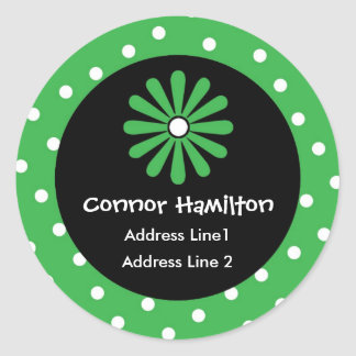 Green & White Polka Dot Address Labels Round Sticker